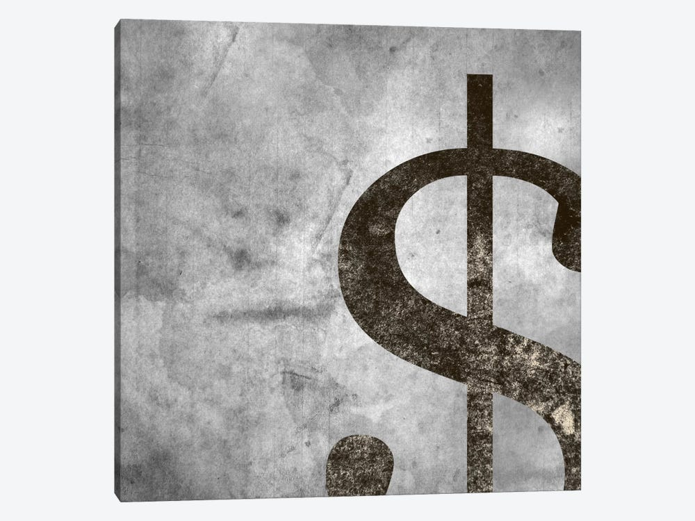 dollar sign-Silver Fading by 5by5collective 1-piece Canvas Print