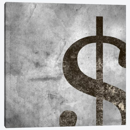 dollar sign-Silver Fading Canvas Print #TOA254} by 5by5collective Canvas Artwork