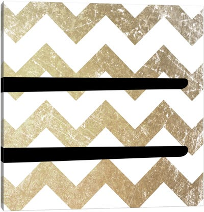 Equal-Bold Gold Chevron Canvas Art Print