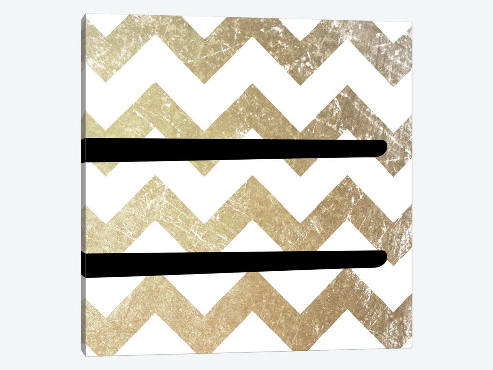 Equal-Bold Gold Chevron by 5by5collective 1-piece Canvas Wall Art