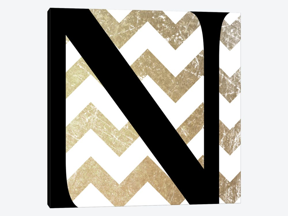 N-Bold Gold Chevron 1-piece Canvas Artwork
