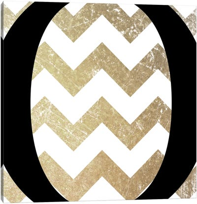 O-Bold Gold Chevron Canvas Art Print