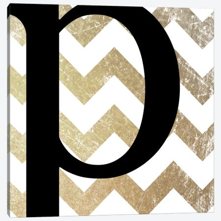 P-Bold Gold Chevron Canvas Print #TOA350} by 5by5collective Canvas Artwork