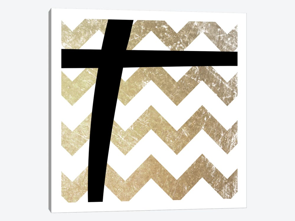 Plus-Bold Gold Chevron by 5by5collective 1-piece Canvas Art Print