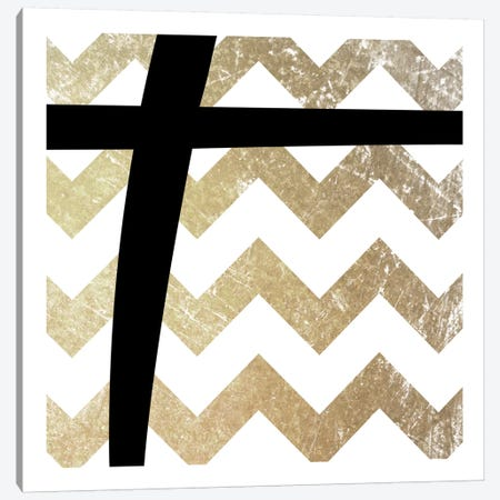 Plus-Bold Gold Chevron Canvas Print #TOA362} by 5by5collective Art Print