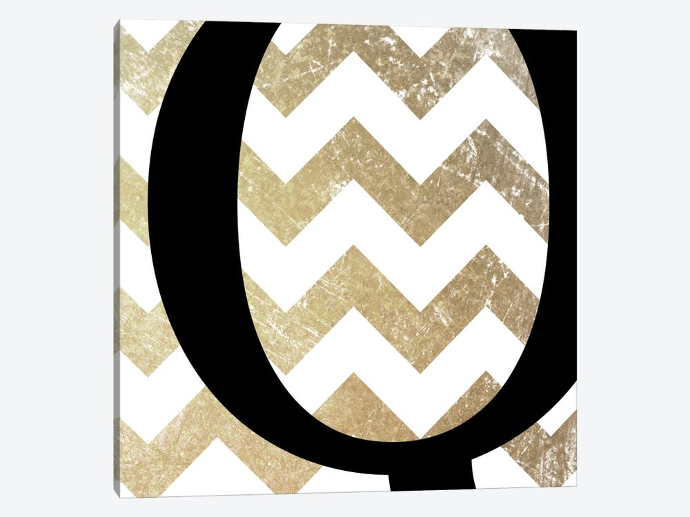 Q-Bold Gold Chevron 1-piece Canvas Print