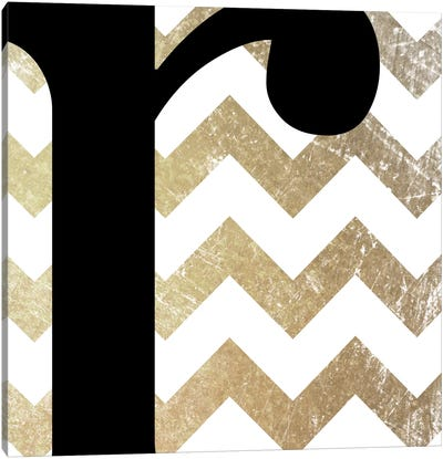 R-Bold Gold Chevron Canvas Print #TOA380