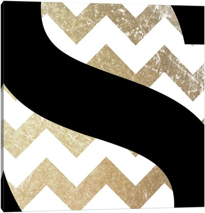 S-Bold Gold Chevron Canvas Print #TOA386