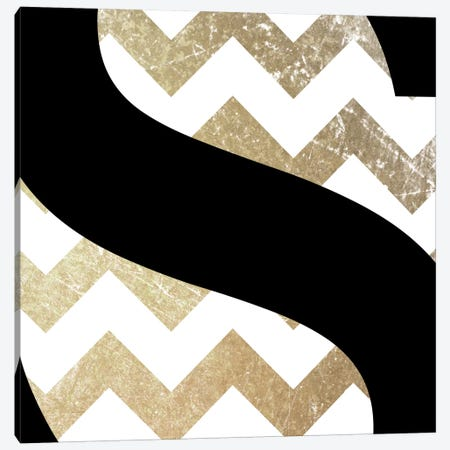 S-Bold Gold Chevron Canvas Print #TOA386} by 5by5collective Canvas Art