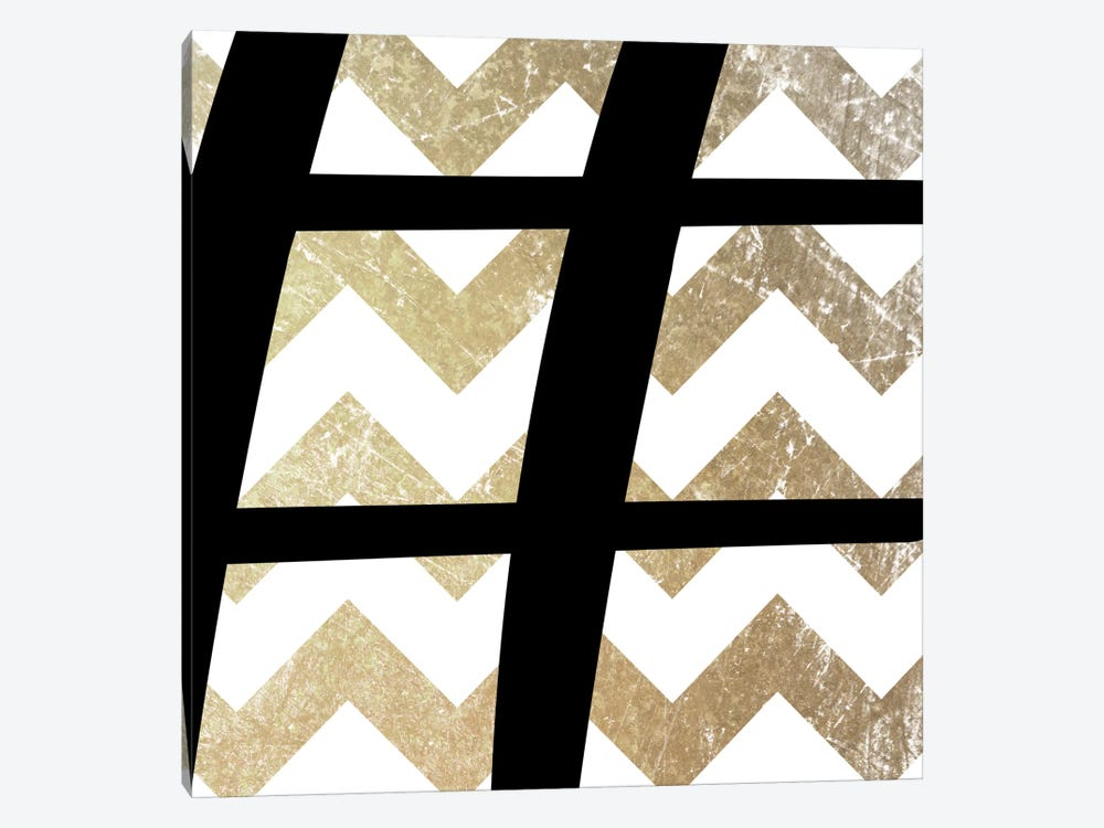 Sharp-Bold Gold Chevron by 5by5collective 1-piece Canvas Art