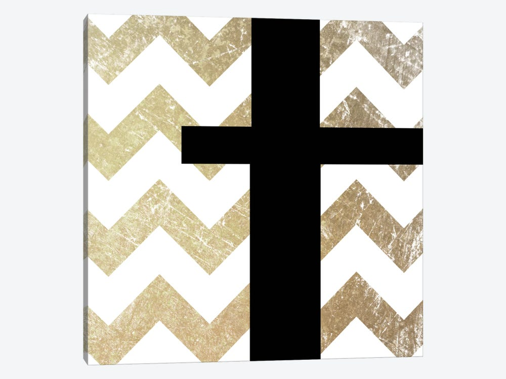 T-Bold Gold Chevron by 5by5collective 1-piece Canvas Wall Art