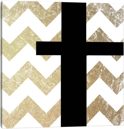T-Bold Gold Chevron Canvas Art Print