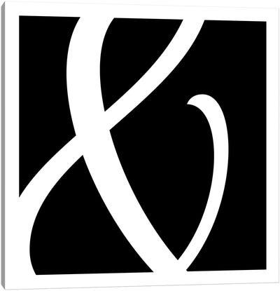 Ampersand in White with Black Background Canvas Art Print