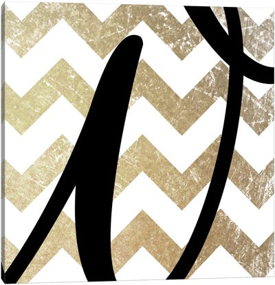 W-Bold Gold Chevron Canvas Art Print