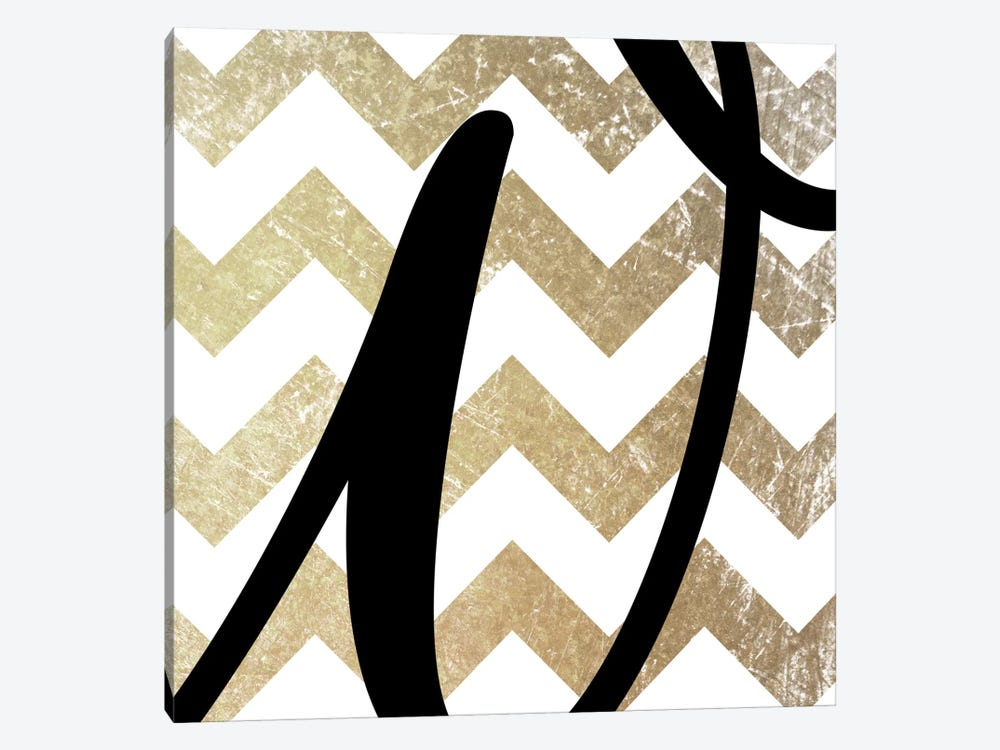 W-Bold Gold Chevron by 5by5collective 1-piece Canvas Art Print