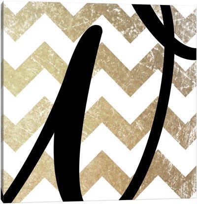 W-Bold Gold Chevron Canvas Art Print