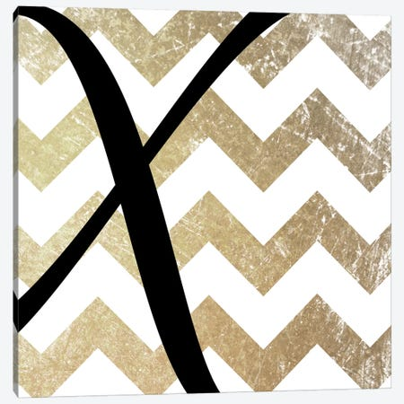 X-Bold Gold Chevron Canvas Print #TOA422} by 5by5collective Canvas Artwork