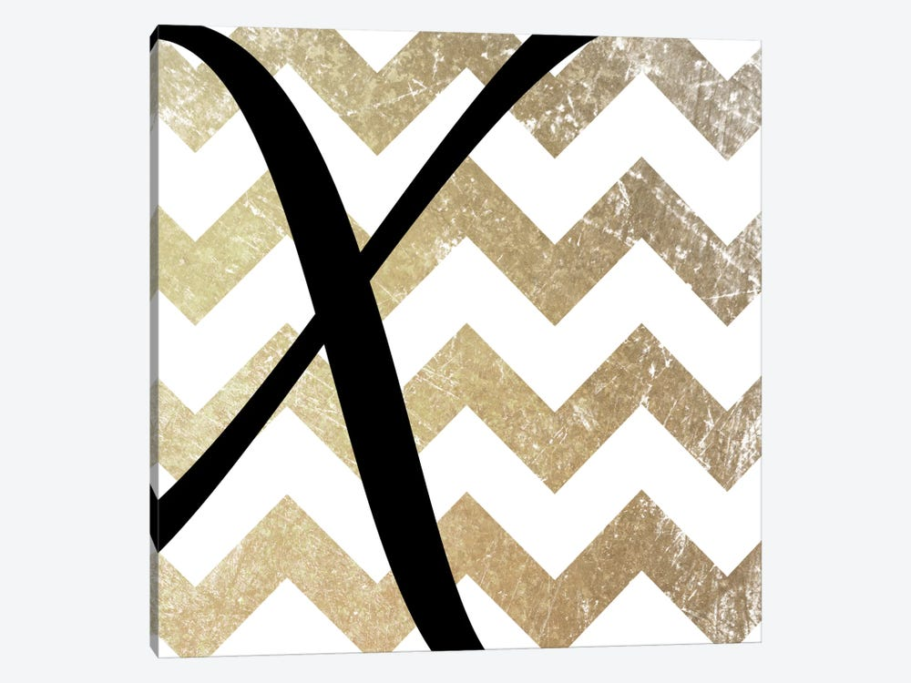 X-Bold Gold Chevron by 5by5collective 1-piece Canvas Art