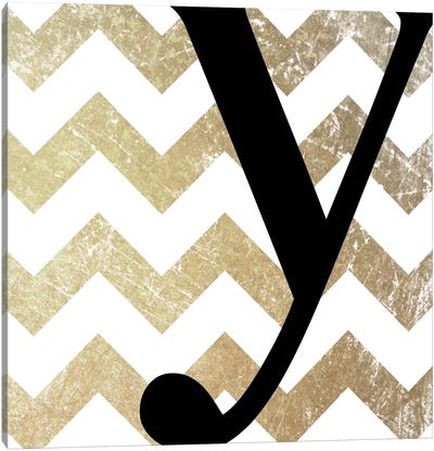 Y-Bold Gold Chevron Canvas Art Print