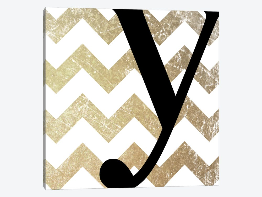 Y-Bold Gold Chevron 1-piece Canvas Artwork