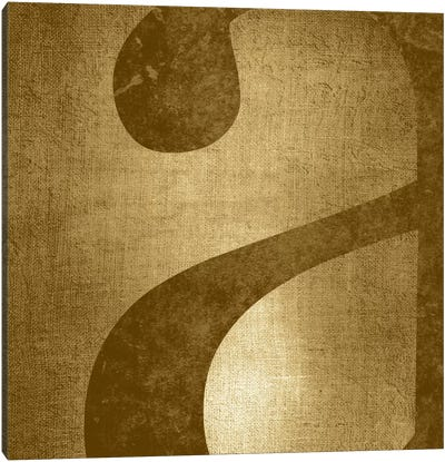 "Gold Shimmer Lower Case ""A"" Canvas Art Print"