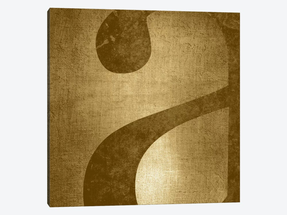 "Gold Shimmer Lower Case ""A"" by 5by5collective 1-piece Canvas Artwork"