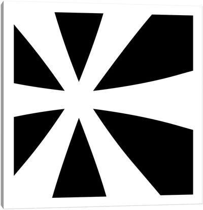 Asterisk in White with Black Background Canvas Art Print