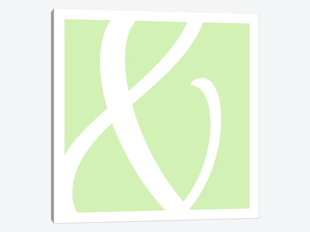 Ampersand in White with Lime Green Background by 5by5collective 1-piece Canvas Wall Art