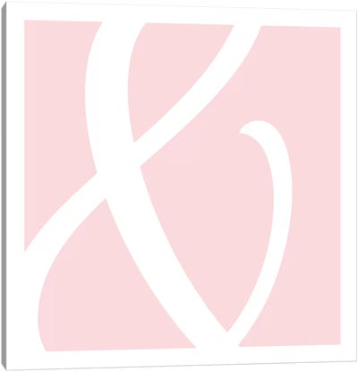 Ampersand in White with Pink Background Canvas Art Print