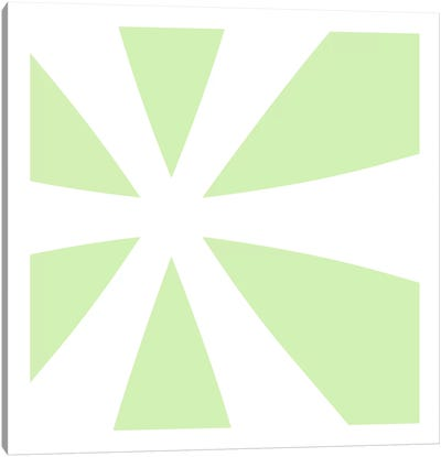 Asterisk in White with Lime Green Background Canvas Art Print