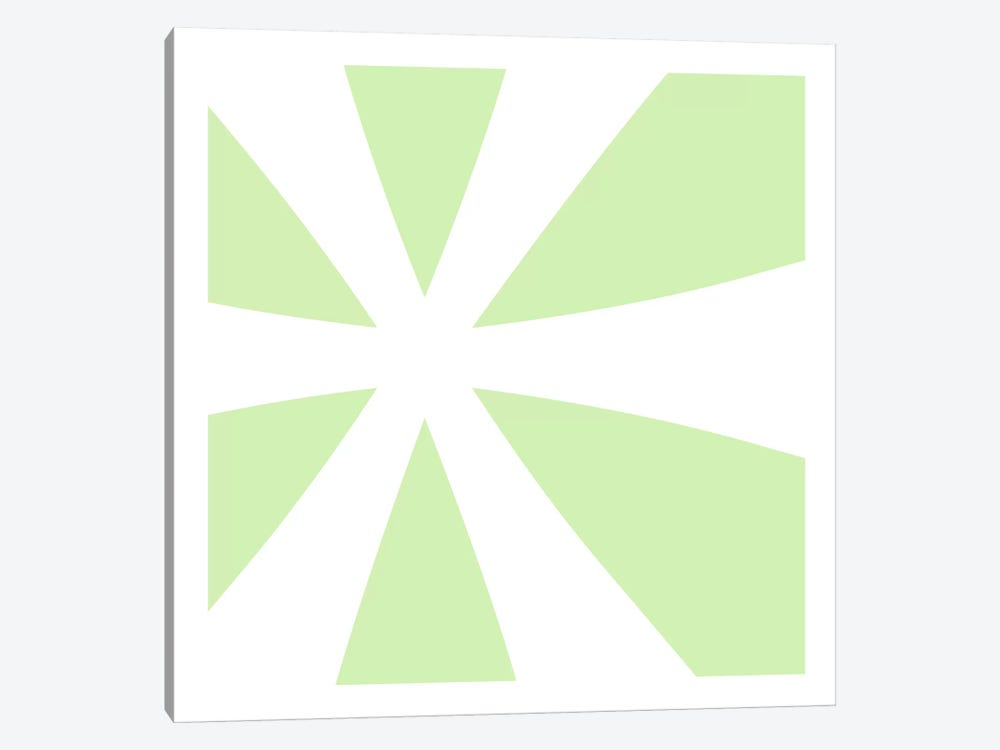 Asterisk in White with Lime Green Background by 5by5collective 1-piece Canvas Art Print
