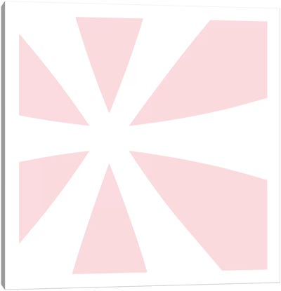 Asterisk in White with Pink Background Canvas Art Print