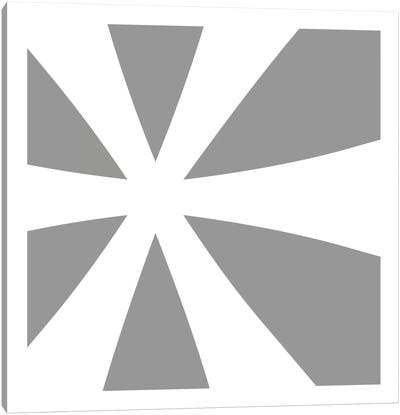 Asterisk in White with Grey Background Canvas Art Print