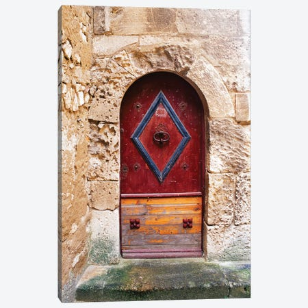 Colorful door in the stone wall of a chateau in France. Canvas Print #TOH1} by Tom Haseltine Canvas Artwork