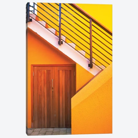 Geometric view of a yellow and orange stairway. Canvas Print #TOH2} by Tom Haseltine Canvas Wall Art