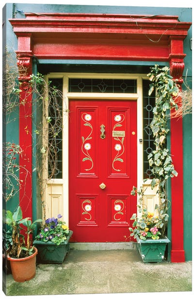 Red door with painted daisies, surrounded by flowers and vines. Canvas Art Print