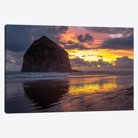 Cannon Beach Sunset Canvas Print #TOL13} by Tim Oldford Canvas Artwork