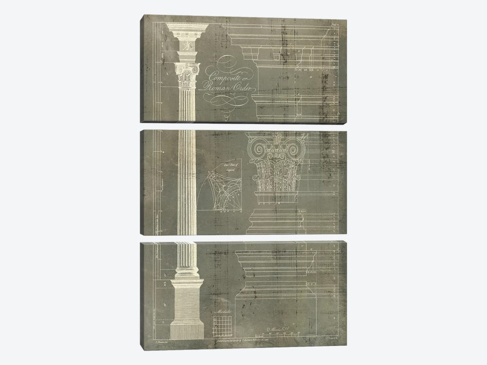 Column Blueprint I by Thomas Sheraton 3-piece Canvas Art