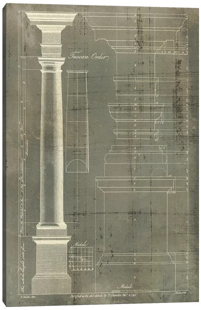 Column Blueprint III Canvas Art Print
