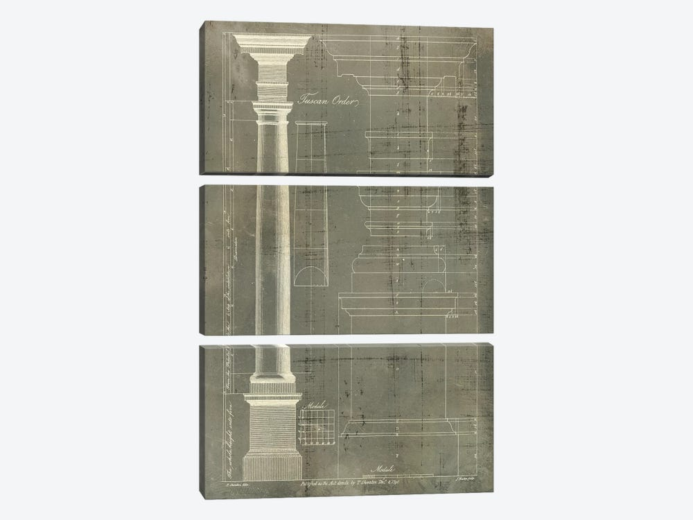 Column Blueprint III 3-piece Canvas Art