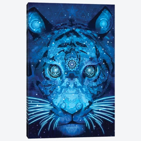 Tech Tiger Canvas Print #TOO37} by Alex Tooth Canvas Artwork