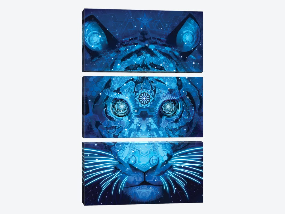 Tech Tiger by Alex Tooth 3-piece Canvas Print