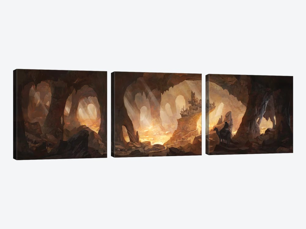 Caves Of Gold 3-piece Canvas Print