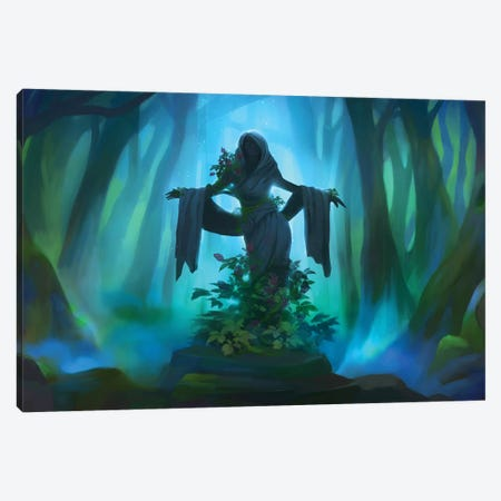 Forest Statue 3-Piece Canvas #TOO54} by Alex Tooth Canvas Wall Art