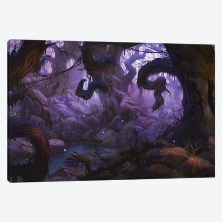 Spooky Forest Canvas Print #TOO80} by Alex Tooth Canvas Artwork