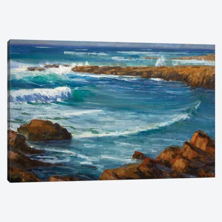 Windy Day At Carmel 3-Piece Canvas #TOP24} by Tony Pro Canvas Artwork