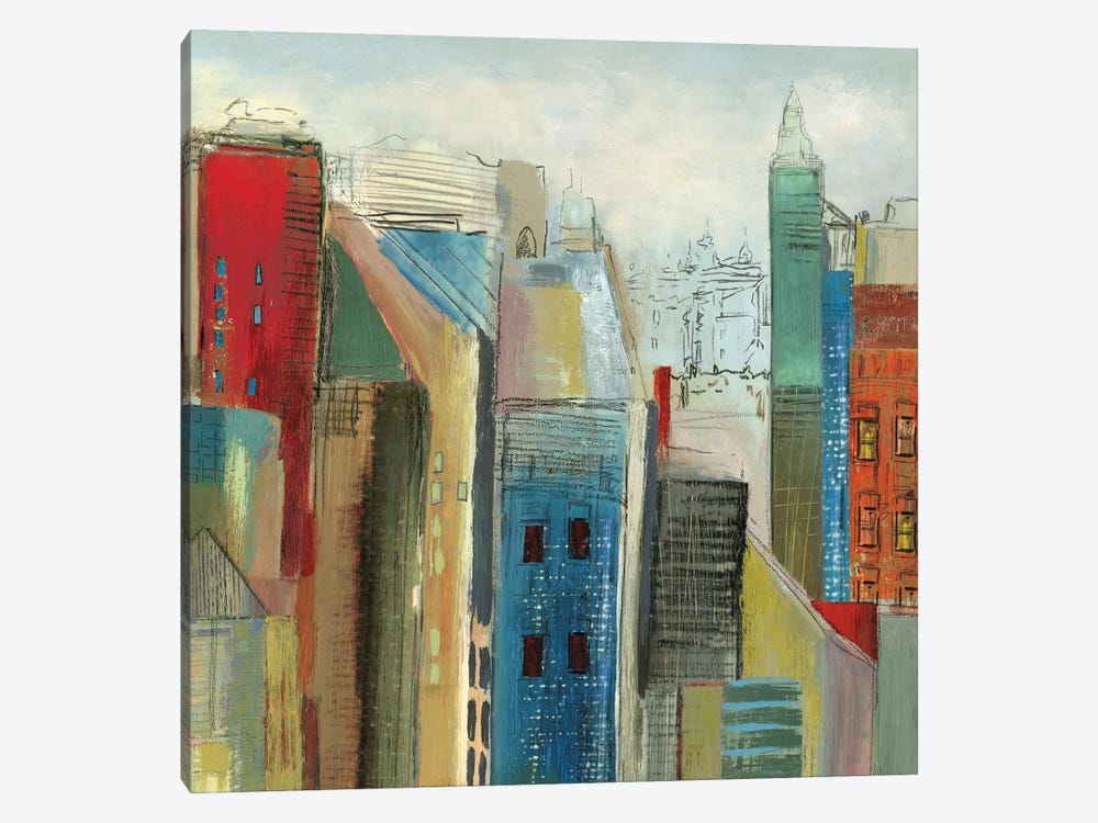 Sunlight City II, Square 1-piece Canvas Wall Art