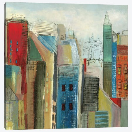 Sunlight City II, Square Canvas Print #TOR113} by Tom Reeves Canvas Print