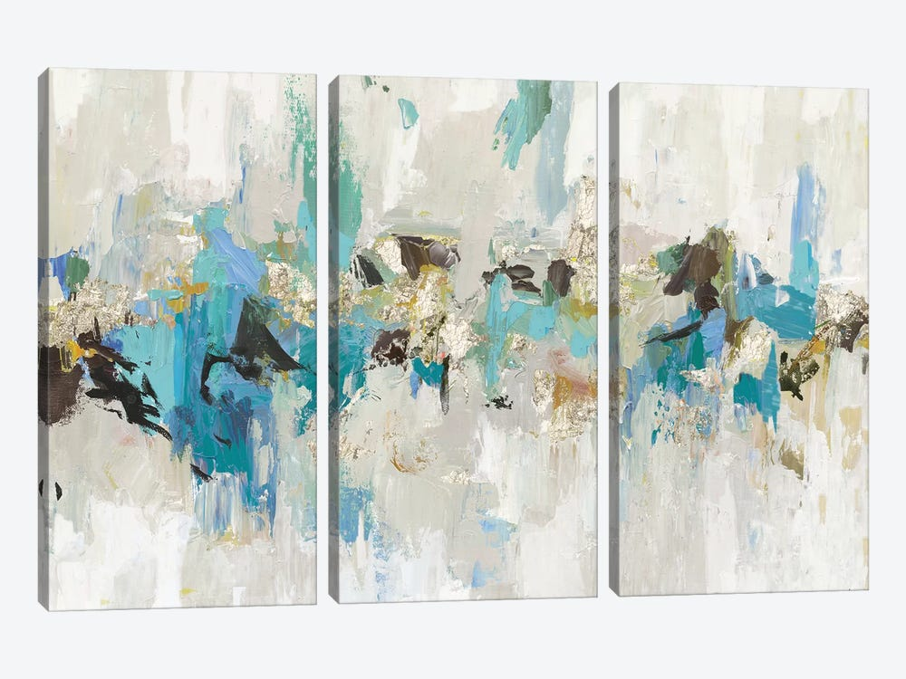 Blue Silver III by Tom Reeves 3-piece Canvas Art Print