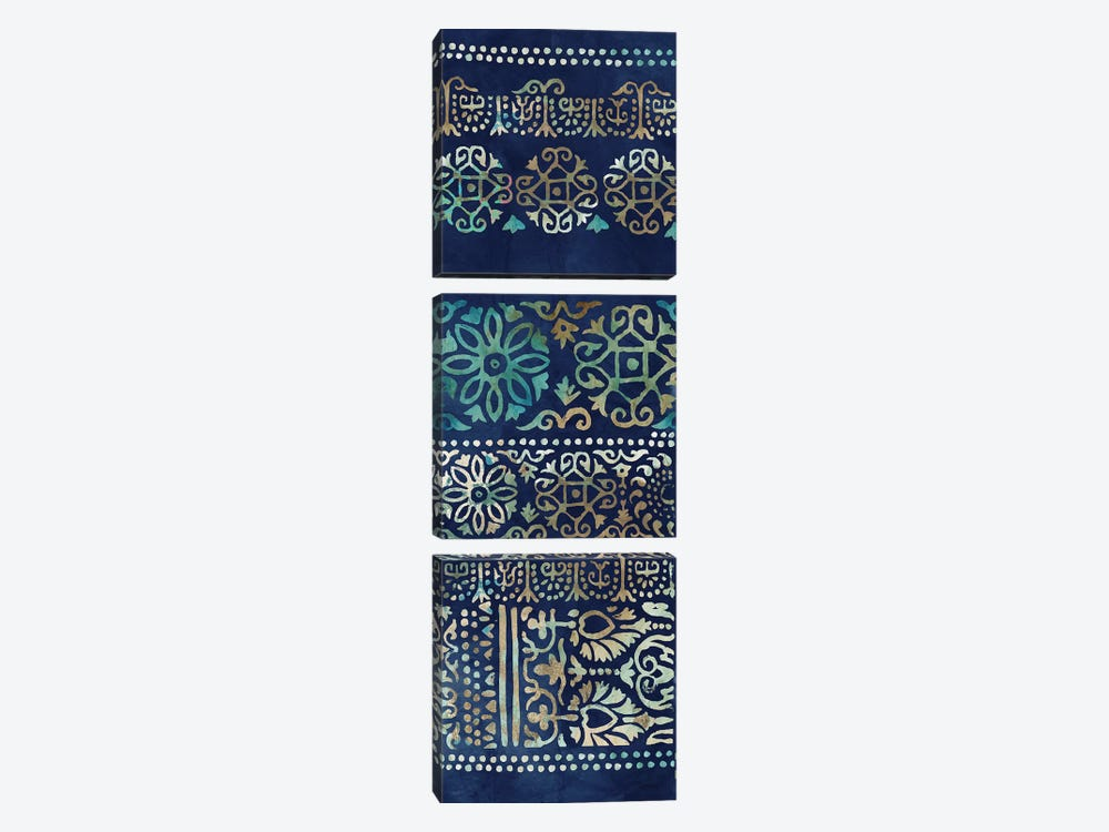 Indigo Damask I  by Tom Reeves 3-piece Art Print